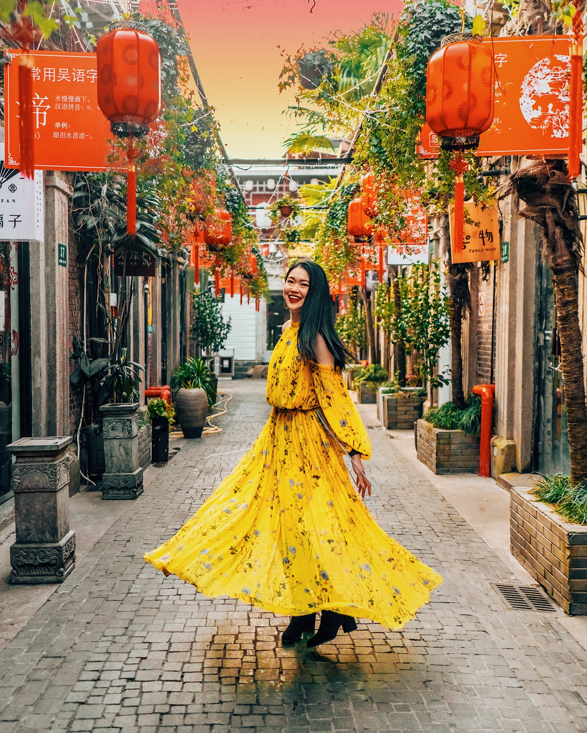 Twirling under the iconic Chinese red lanterns of Tianzifang.