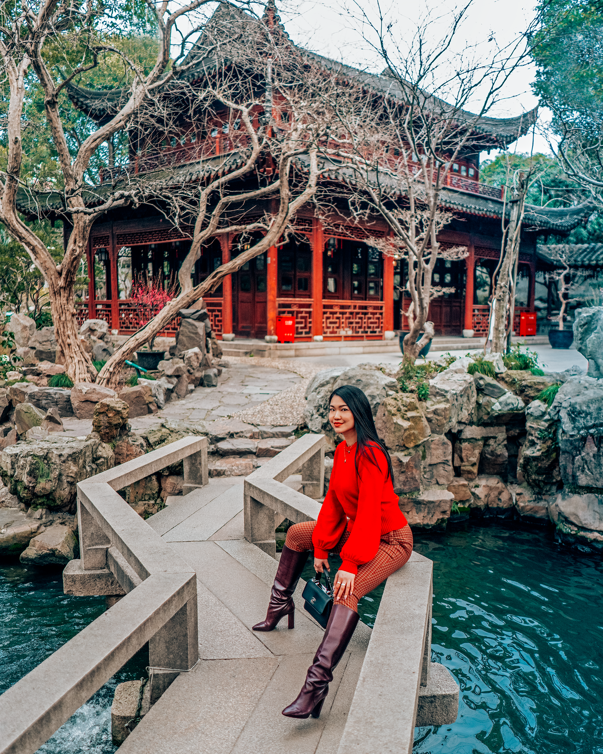Taking a moment to myself in the serenity of Yu Garden.