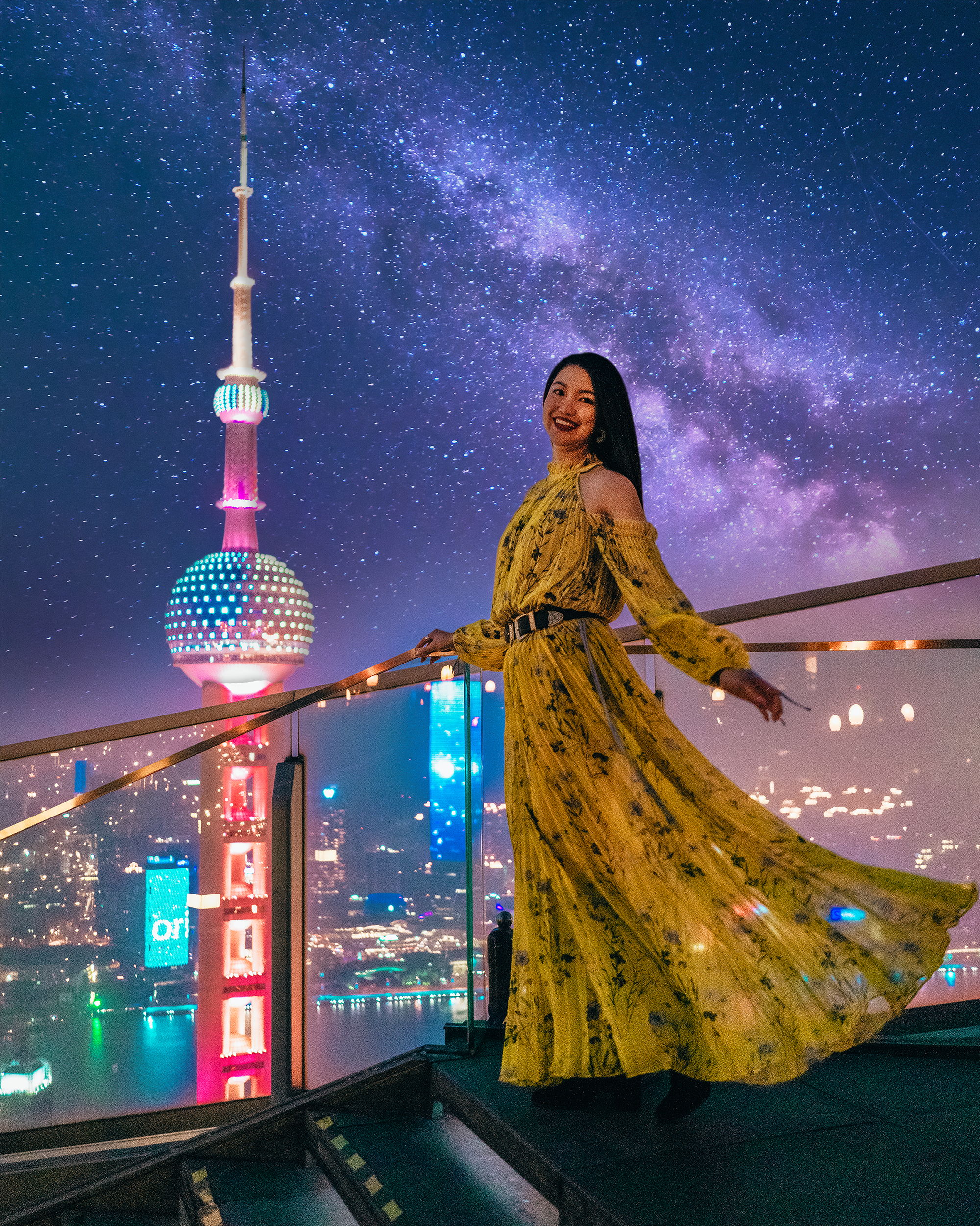 Shanghai's night-time skyline looks especially alluring from this high up.