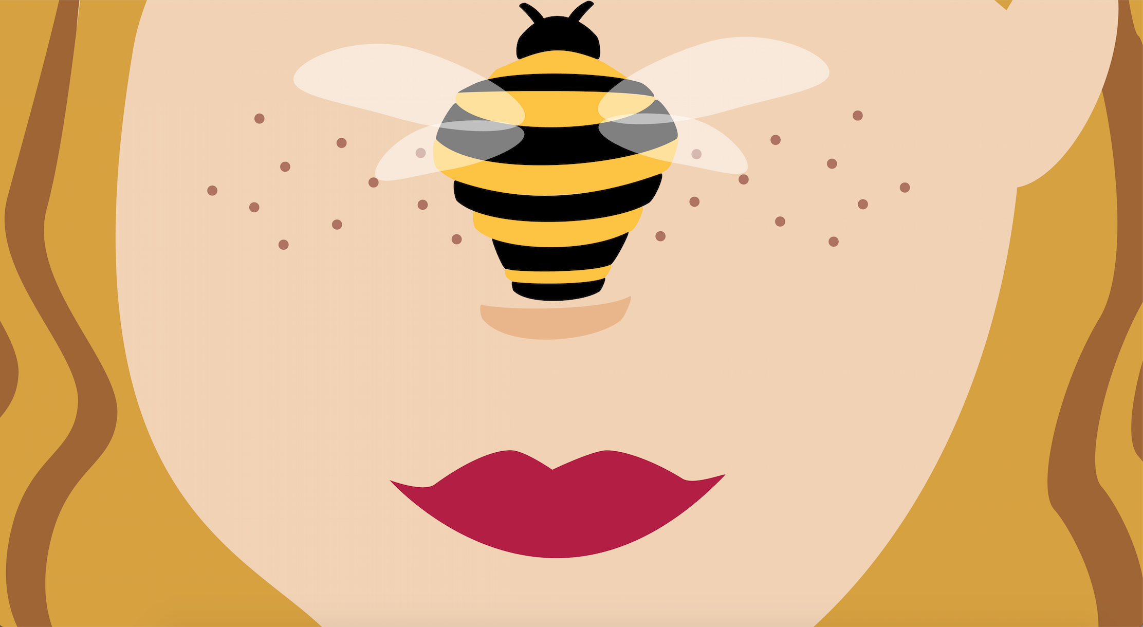 Eva B. logo illustration face with freckles, red lips and bee on nose