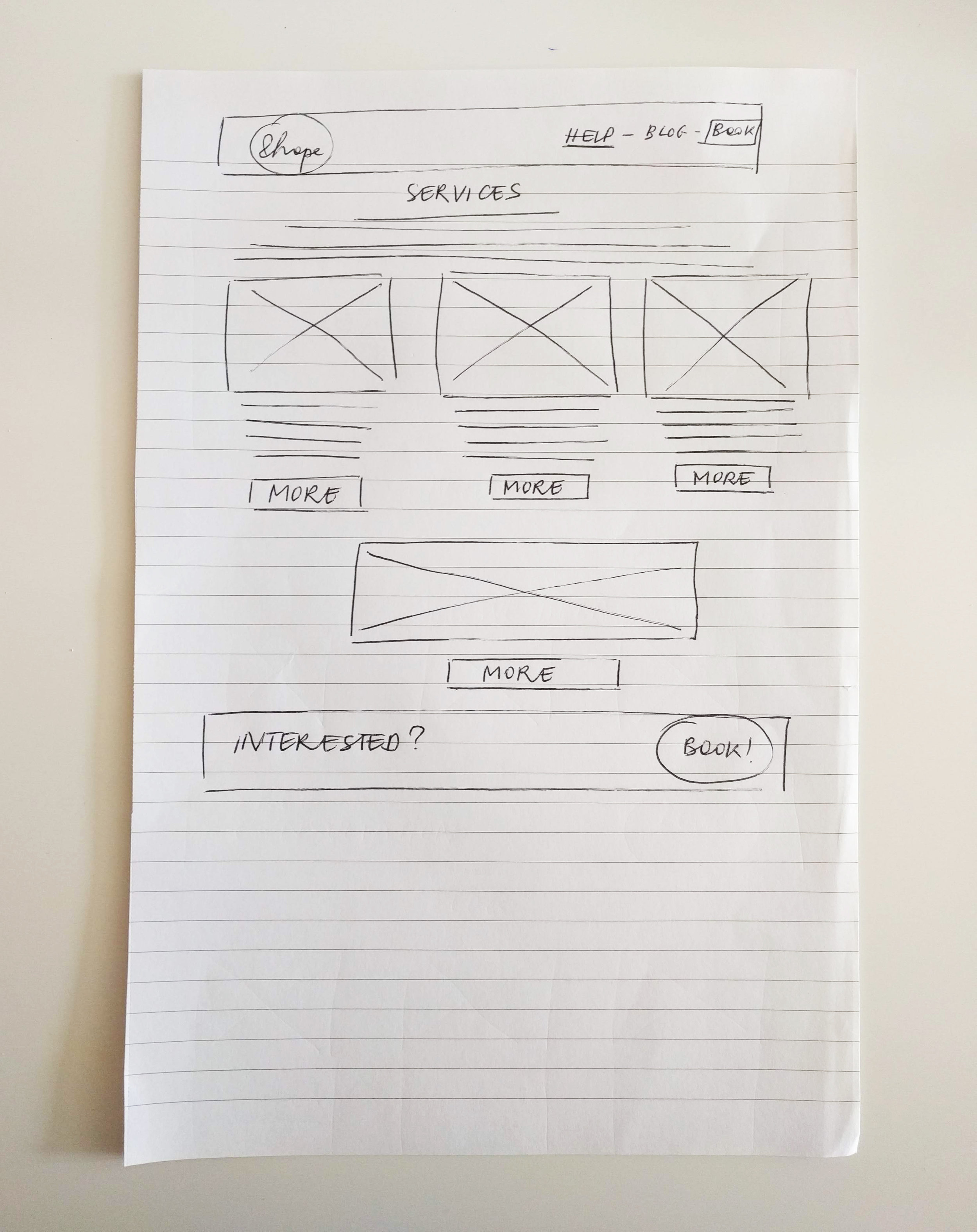 &hope coaching branded website- wireframe on paper services- Eva B.