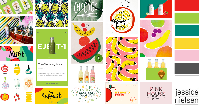 Liquid Lab juice; branding and web design - moodboard - Eva B.
