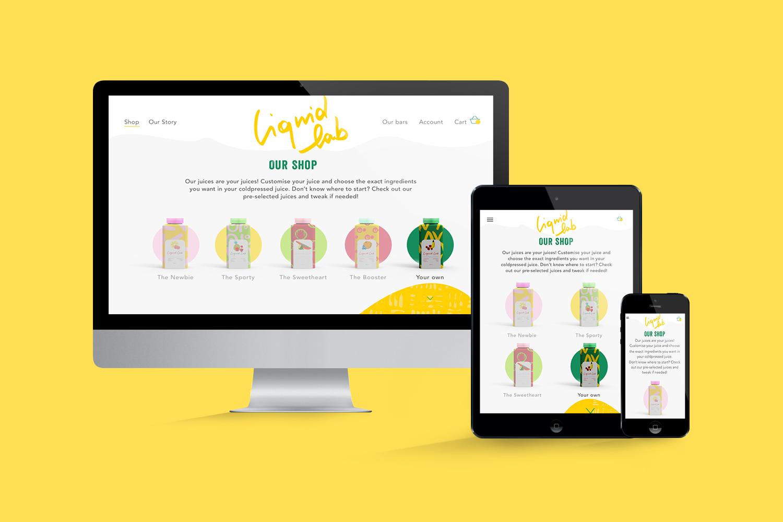 Liquid Lab juice; branding and web design - shop - Eva B.