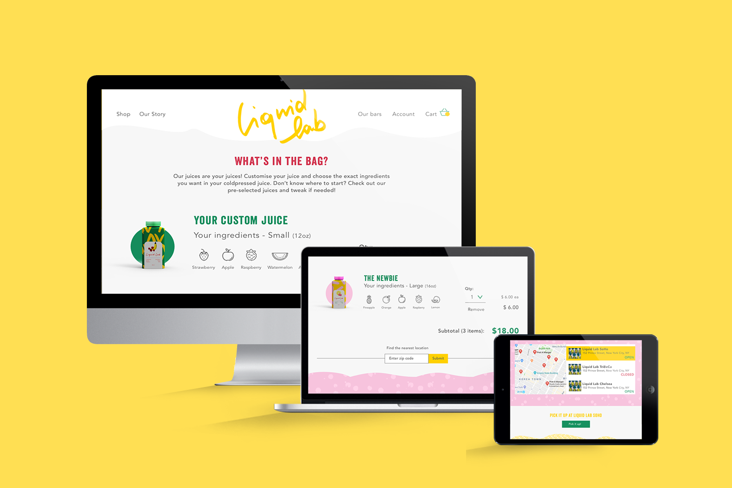Liquid Lab juice; branding and web design - checkout page - Eva B.