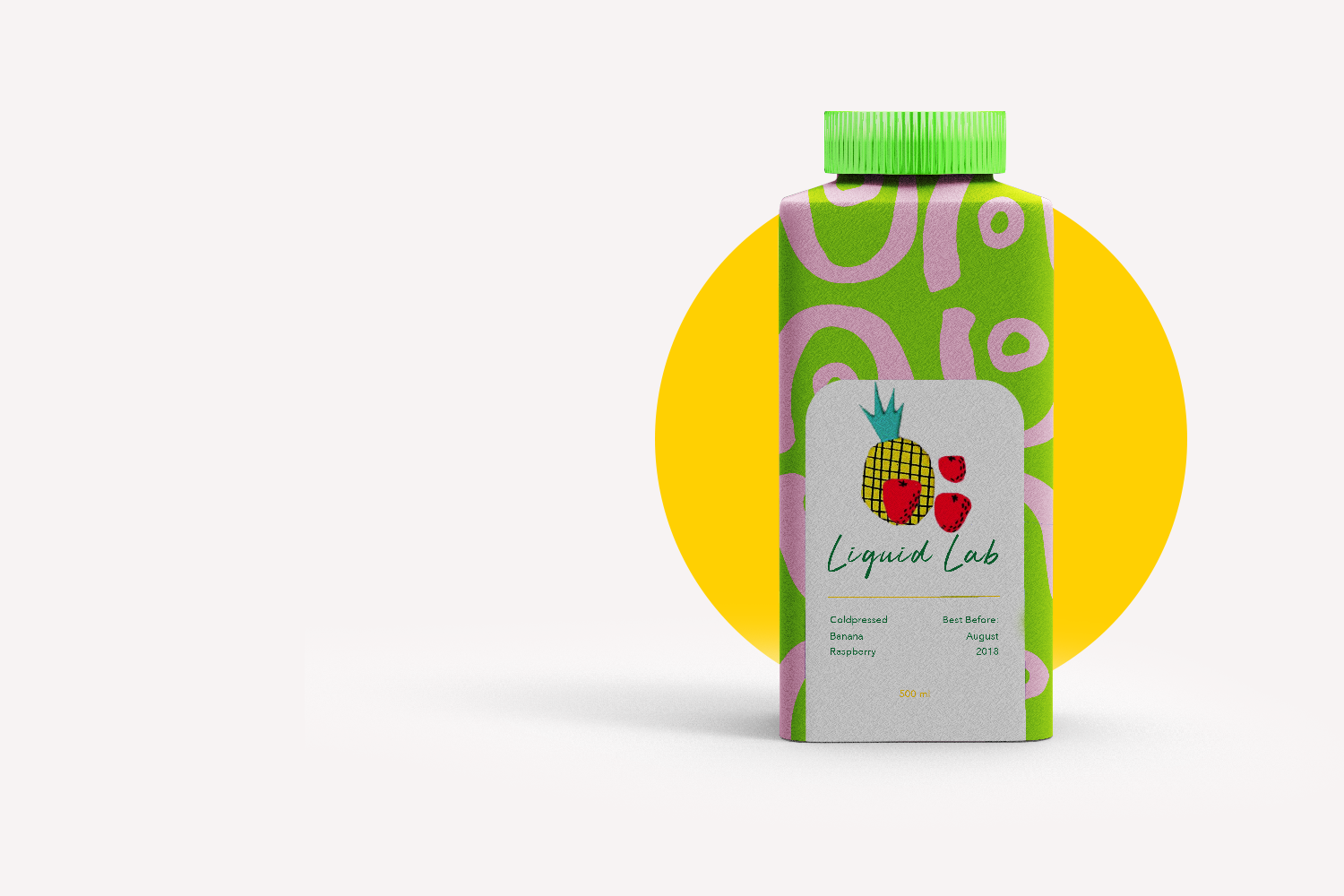 Liquid Lab juice; branding and web design - drink green and pink - Eva B.