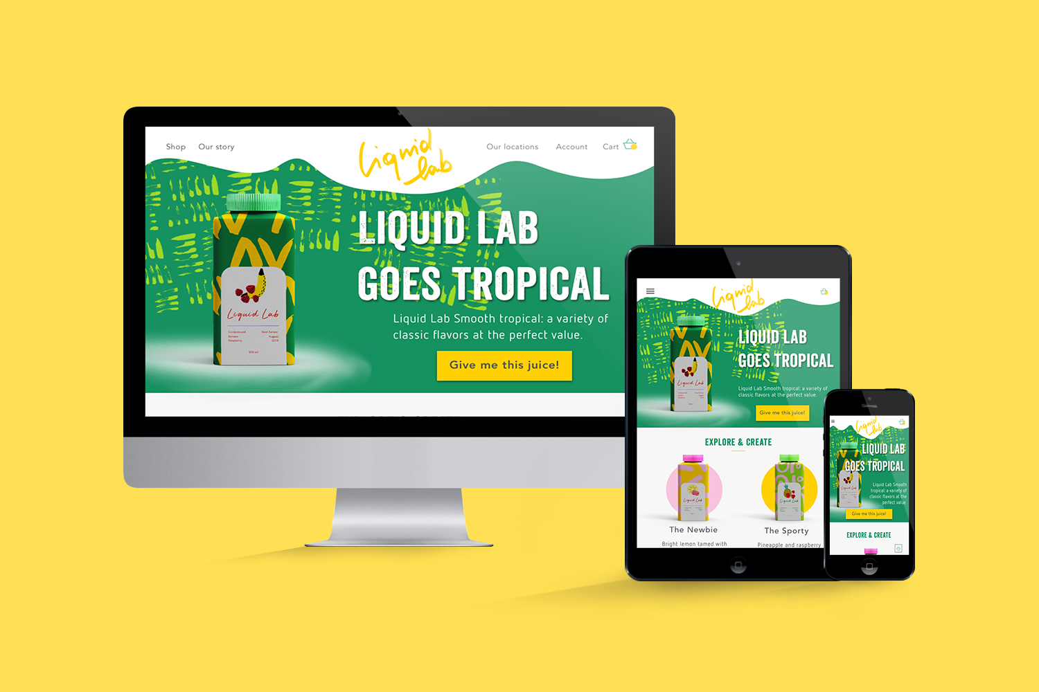 LiquidLab juice branded website on several devices