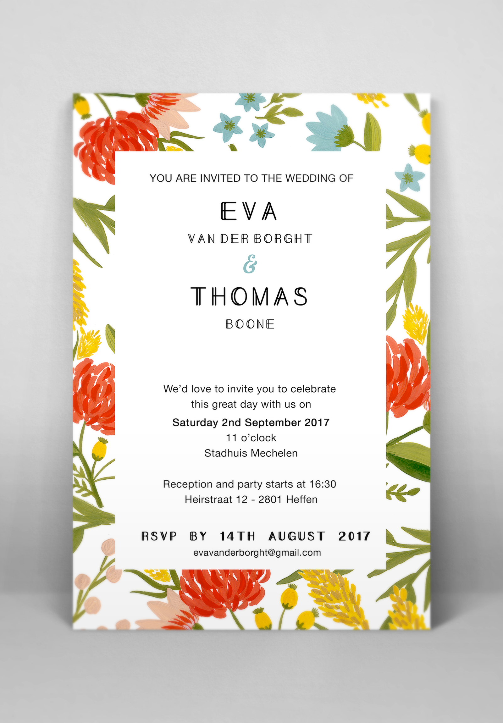 Wedding invitation and stationary floral design - Eva B.