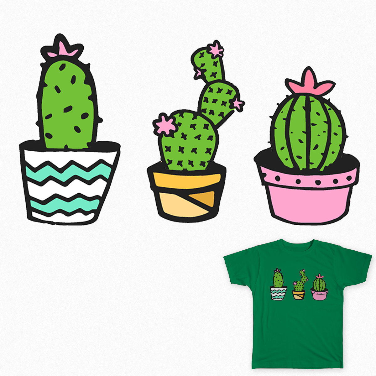3 cacti tshirt design on redbubble - Eva B.