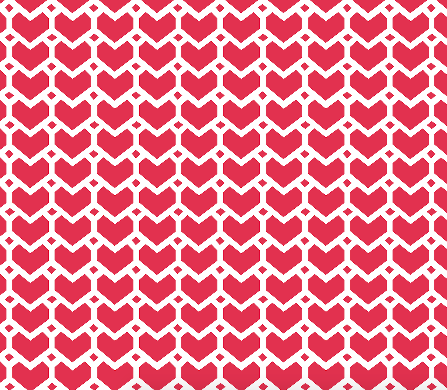 Heart shaped pattern with white hearts on red background