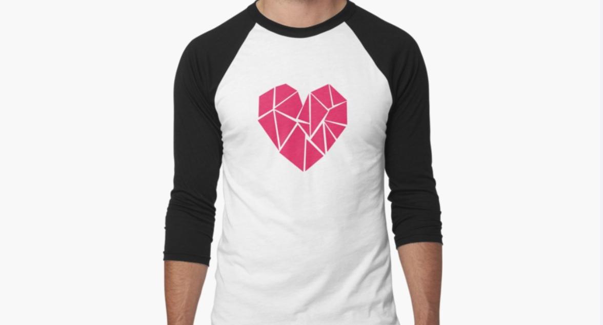 Tshirt design on redbubble - geometric heart