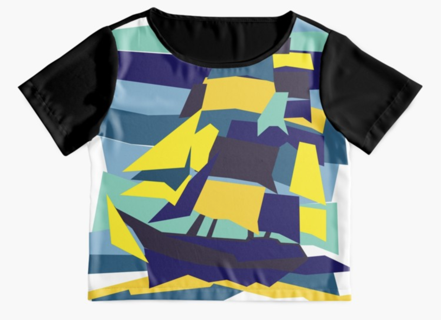 Tshirt design on redbubble - sail boat on the see geometric design