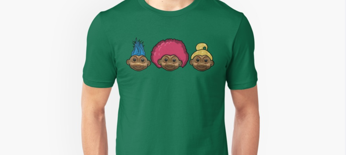 Tshirt design on redbubble - 3 trolls with different hairstyles