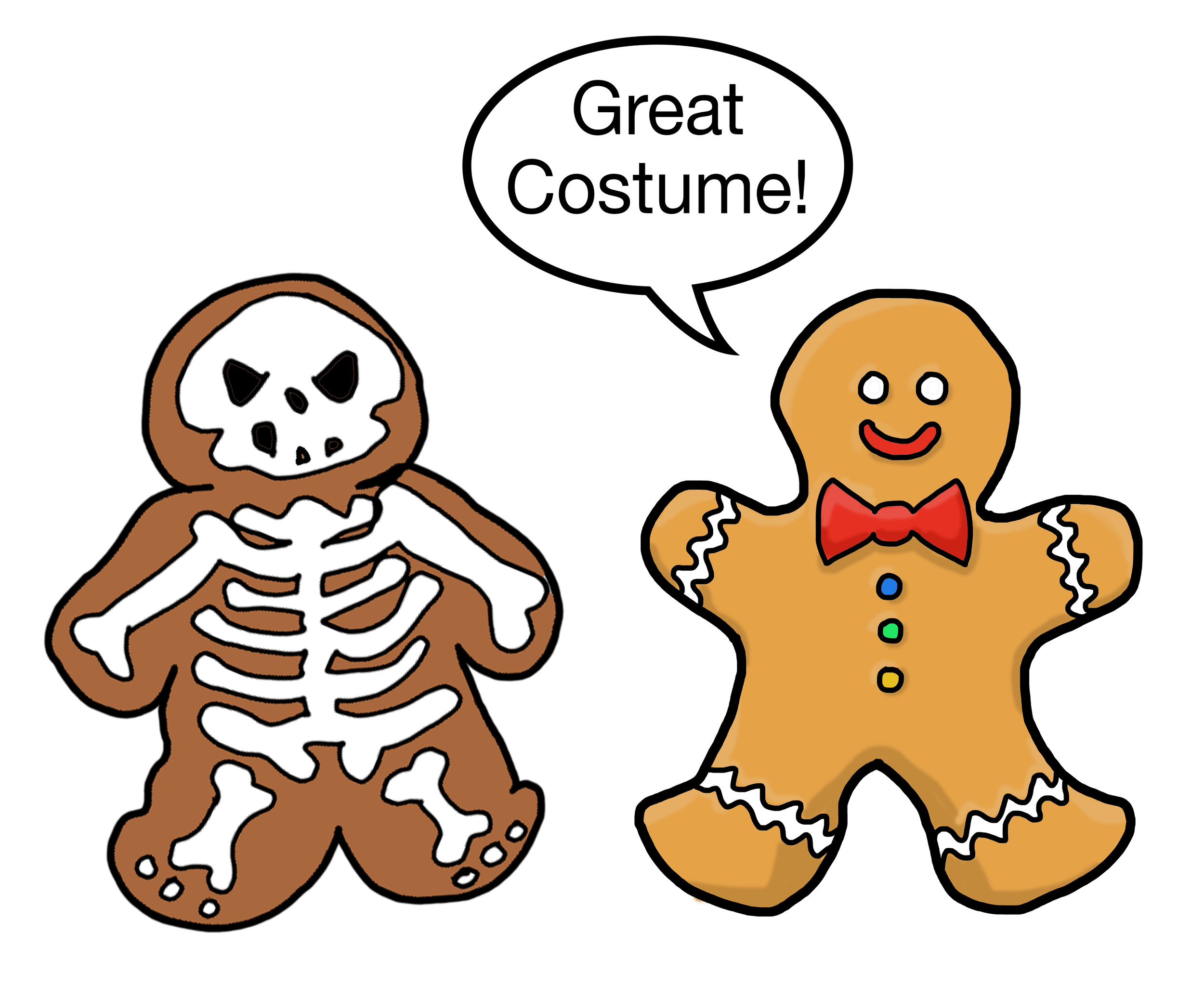 Halloween designed tshirt with gingerbread men in costume