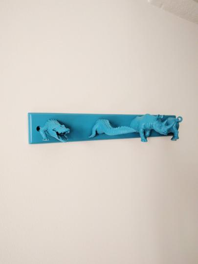 Plastic animals coatrack, painted blue