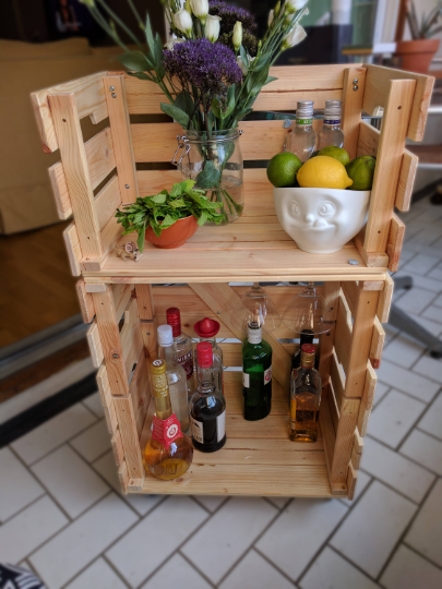 cocktailcart on wheels made out of old crates on sunny balcony detail- diy