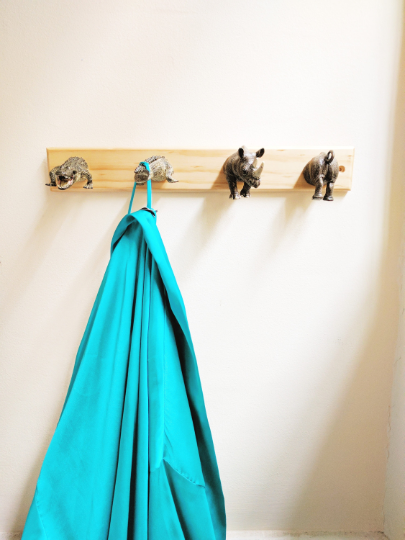 DIY coatrack with plastic animals