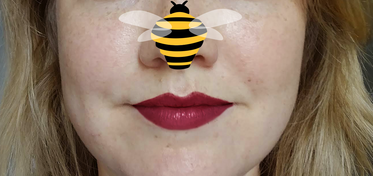 Eva B. logo photo face with freckles, red lips and bee on nose