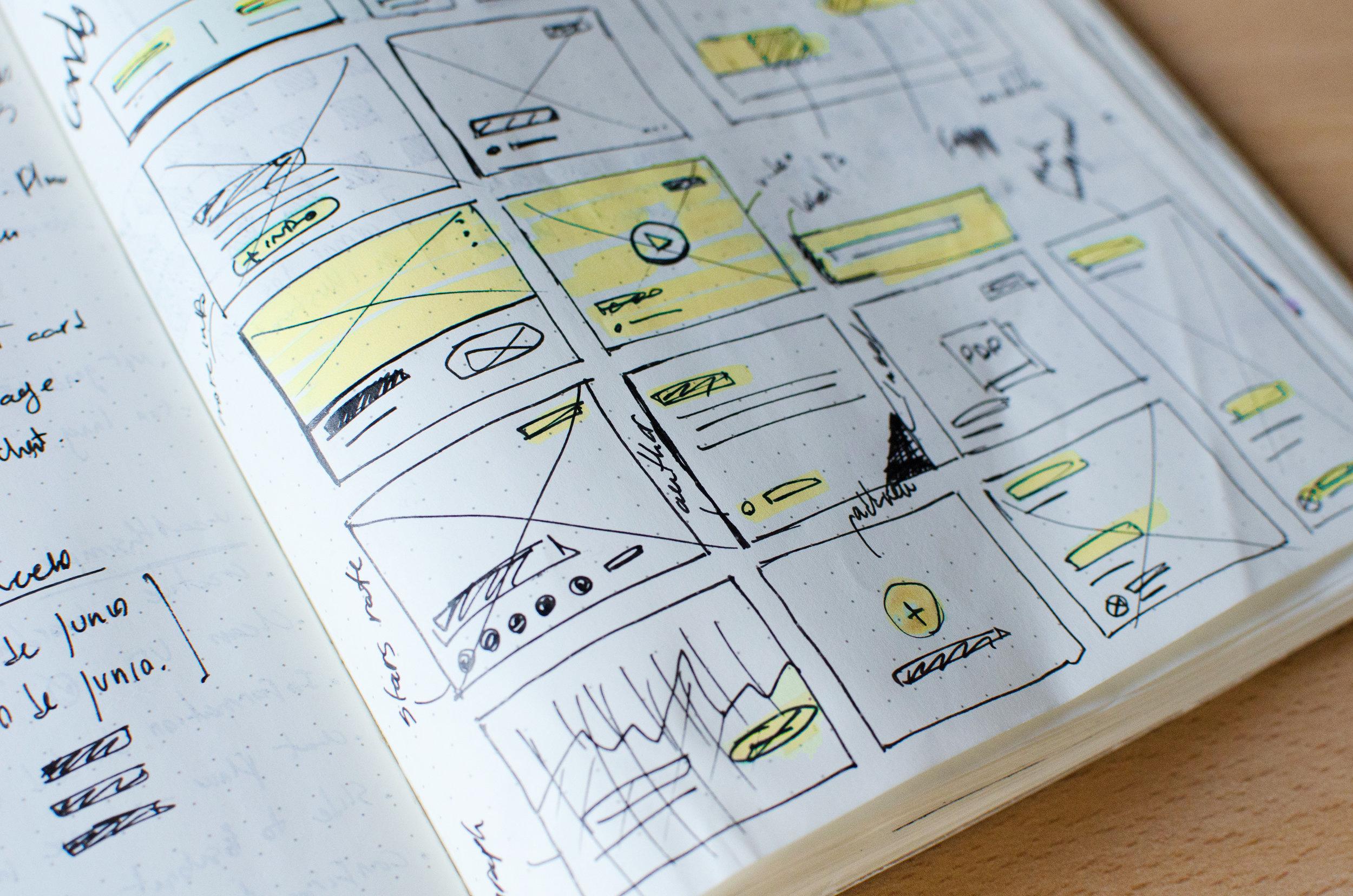 Wireframes  of website in notebook - ux