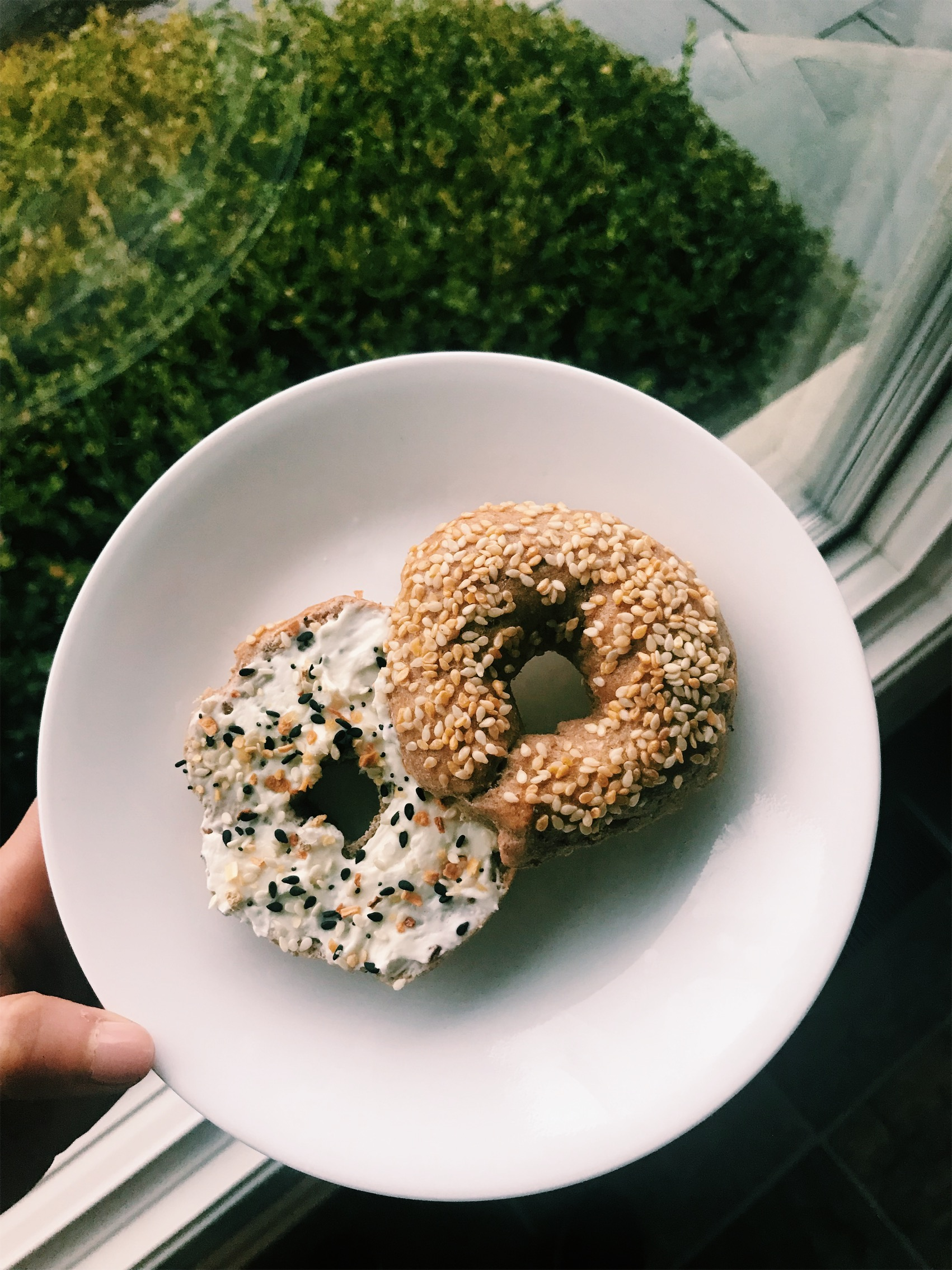 A sesame bagel made with the original whole wheat recipe.