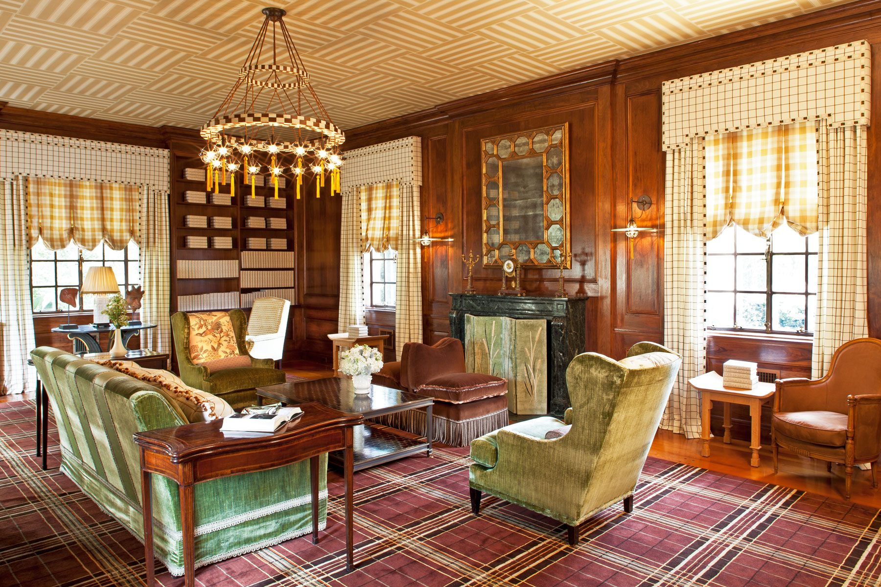 Designer Show House - This sitting room is from a show house in Rumson, New Jersey. I wanted to demonstrate how lovely the various plaids and patterns could look when you mix them all together.