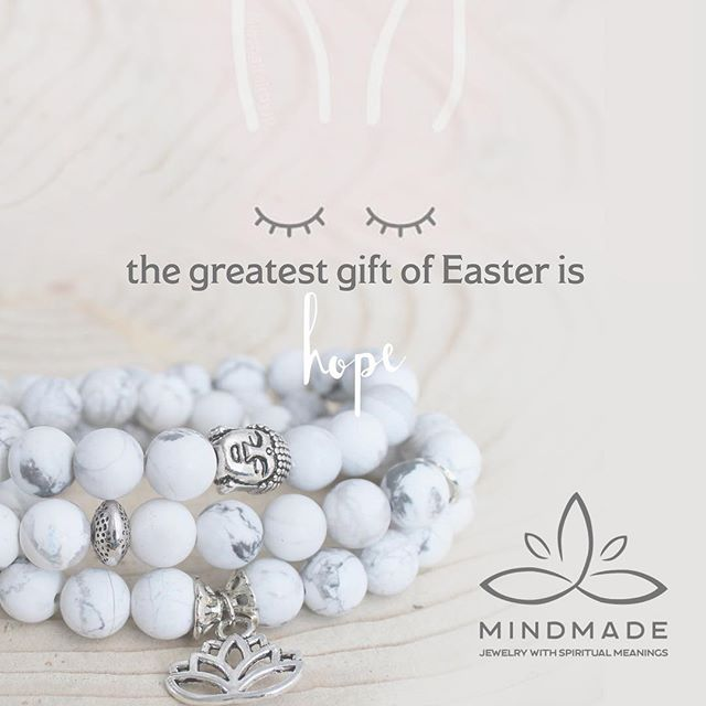 'Hoppy' Easter everyone:) featuring: Peaceful howlite mala bracelet: reduces anxiety and stress (shop link in bio)