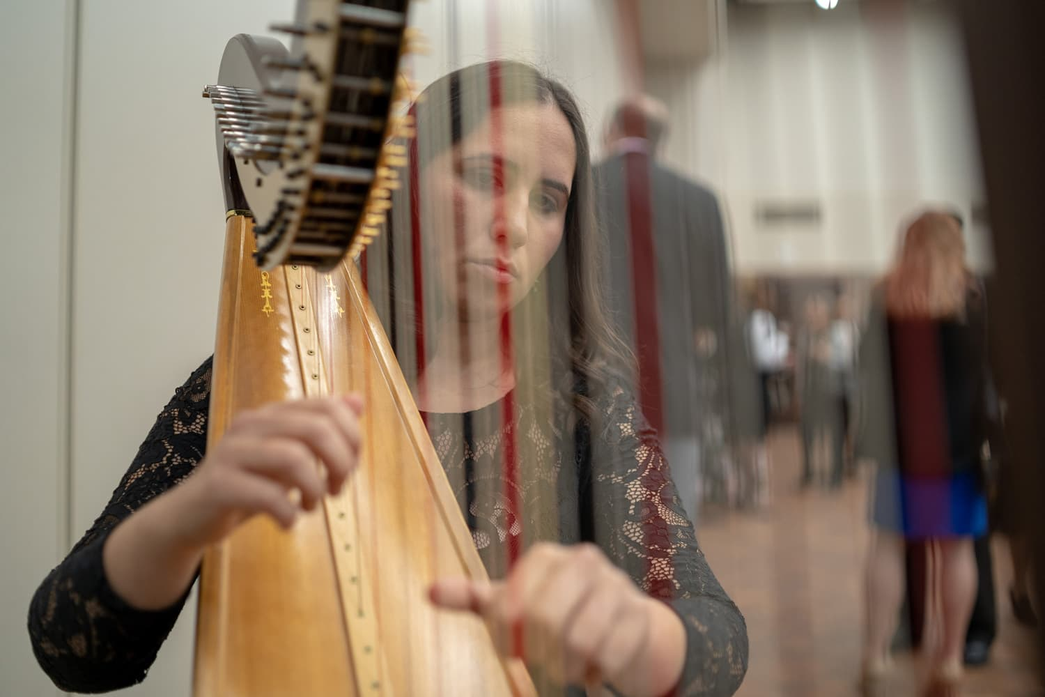 harpist playing music during dinner at Oakland University Alumni Awards 2018