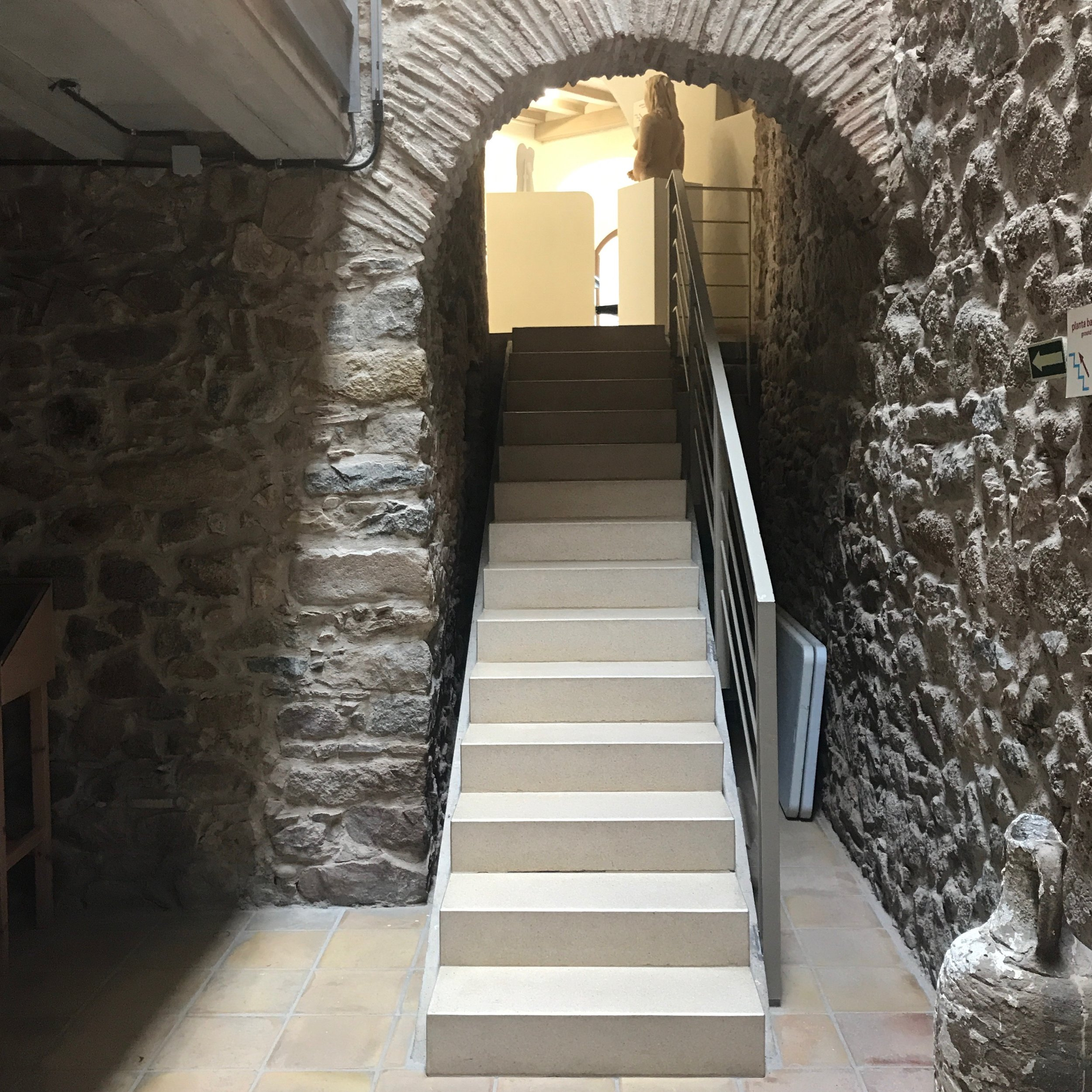 Stairs down to the antiquities, appropriately in the basement of the museum.