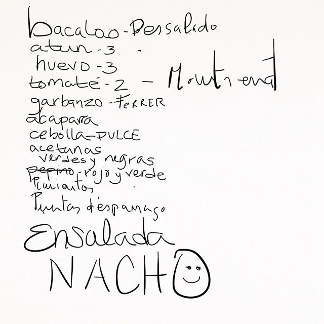 Stephanie took notes, Nacho's salad recipe. #summerstudio #artistresidency