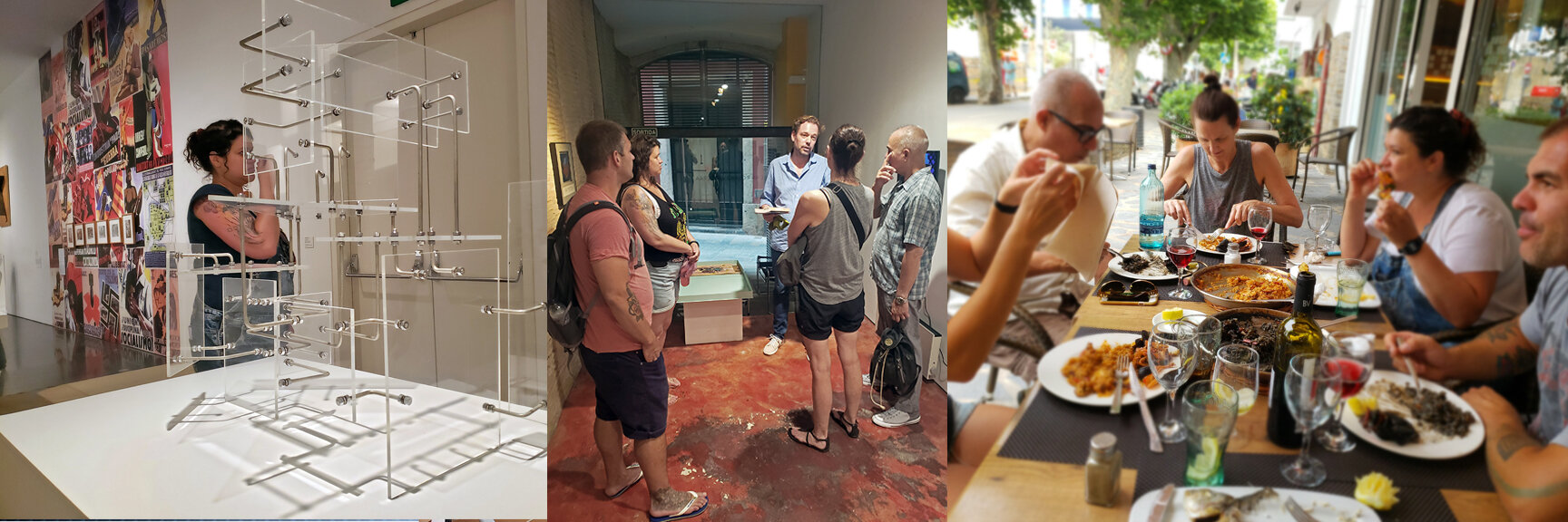 Left to right: Museum visits (MACBA), Gallery visits (Galeria Richard Vanderaa, Girona), Discussion over lunch in Cadaques after visiting Dali's house-studio.