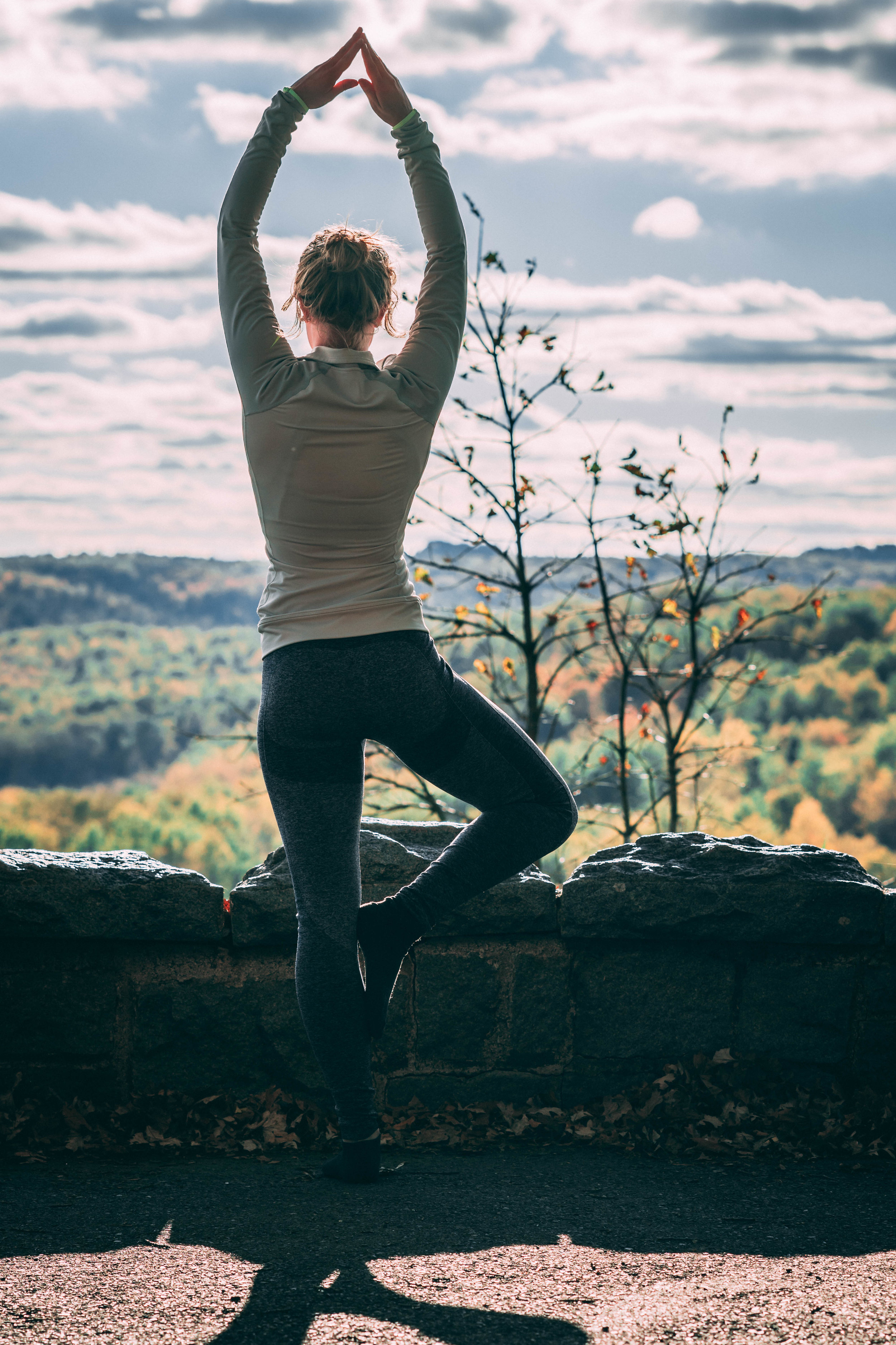 Walking Yoga - Breath slowly and raise your arms.