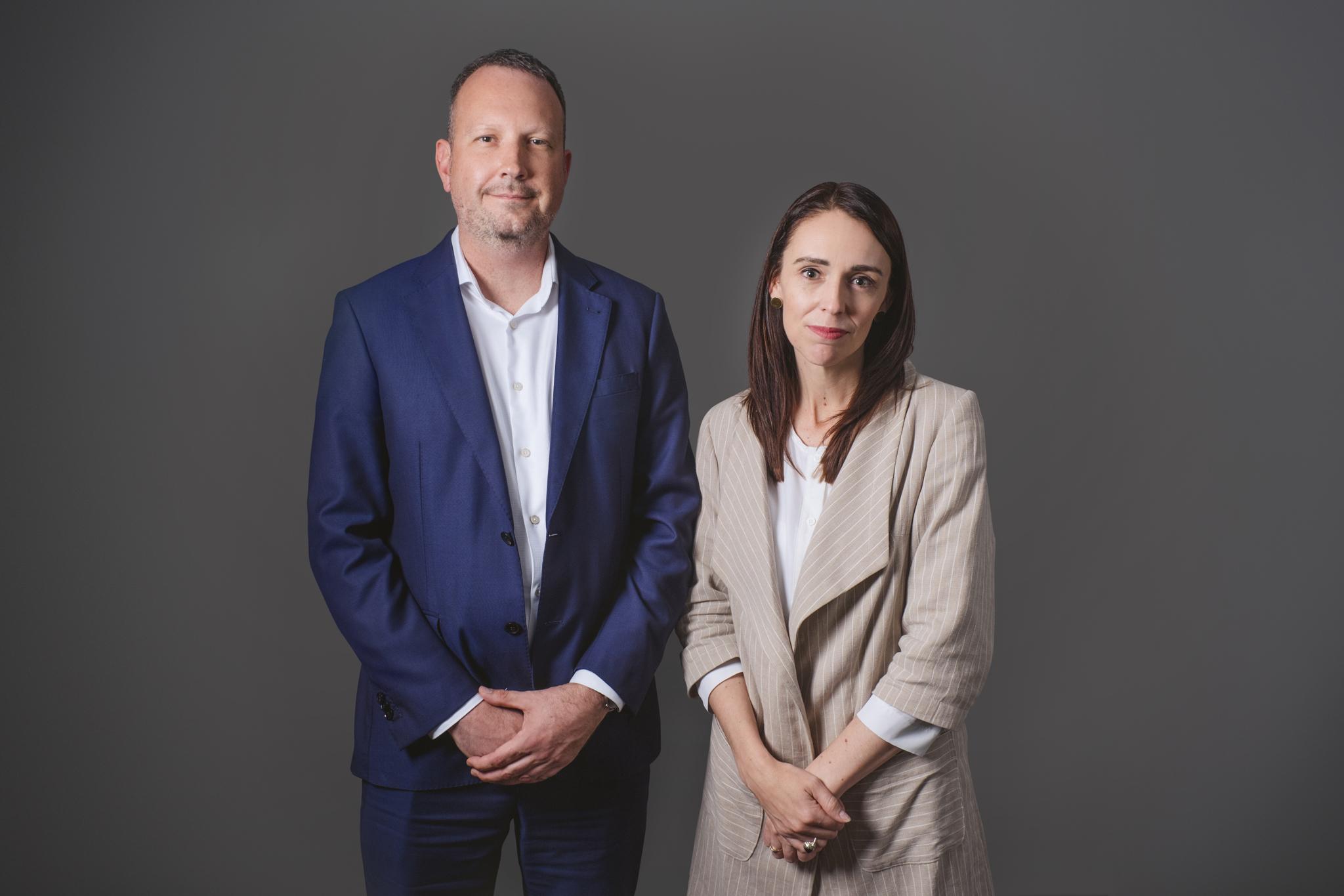 InternetNZ CEO Jordan Carter and Prime Minister Jacinda Ardern