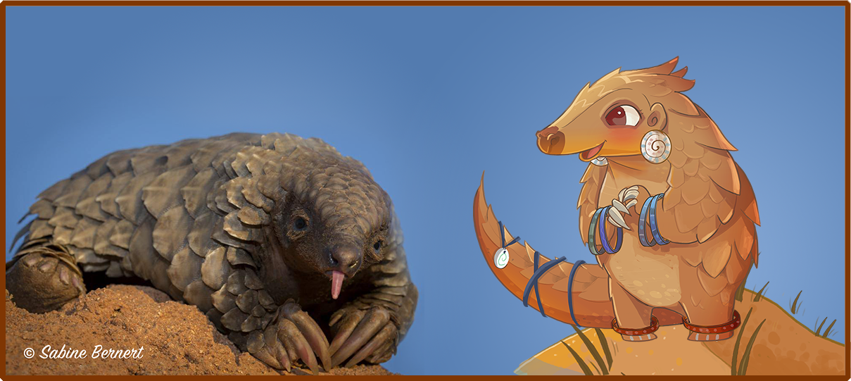 The game's main character, Katiti, is shown here with her real-life pangolin namesake.