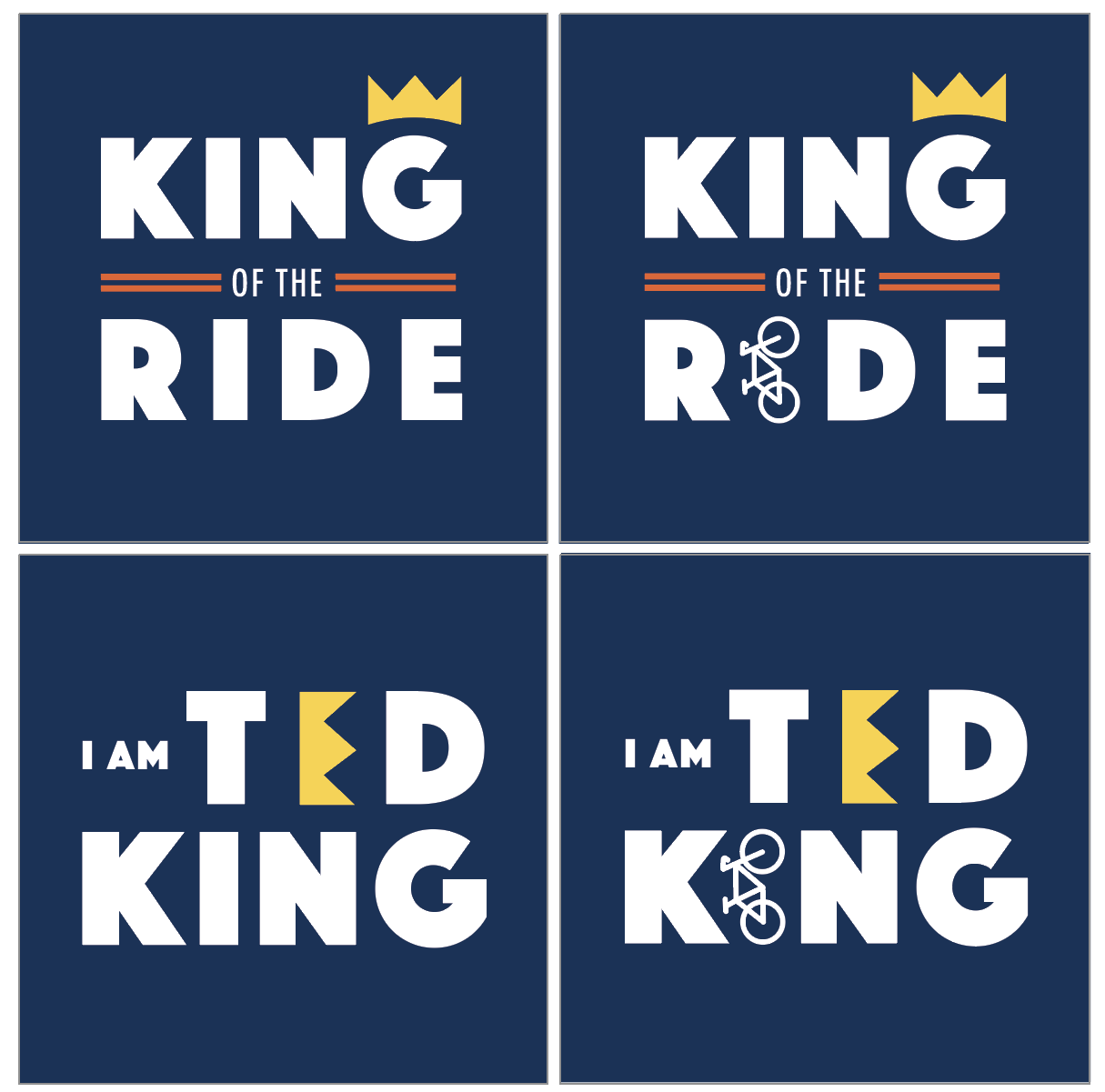 My client decided on these 4 designs as the  final products.  each of the elements (the crown and the bike) can be used as standalone elements in maintaining their personal brand.