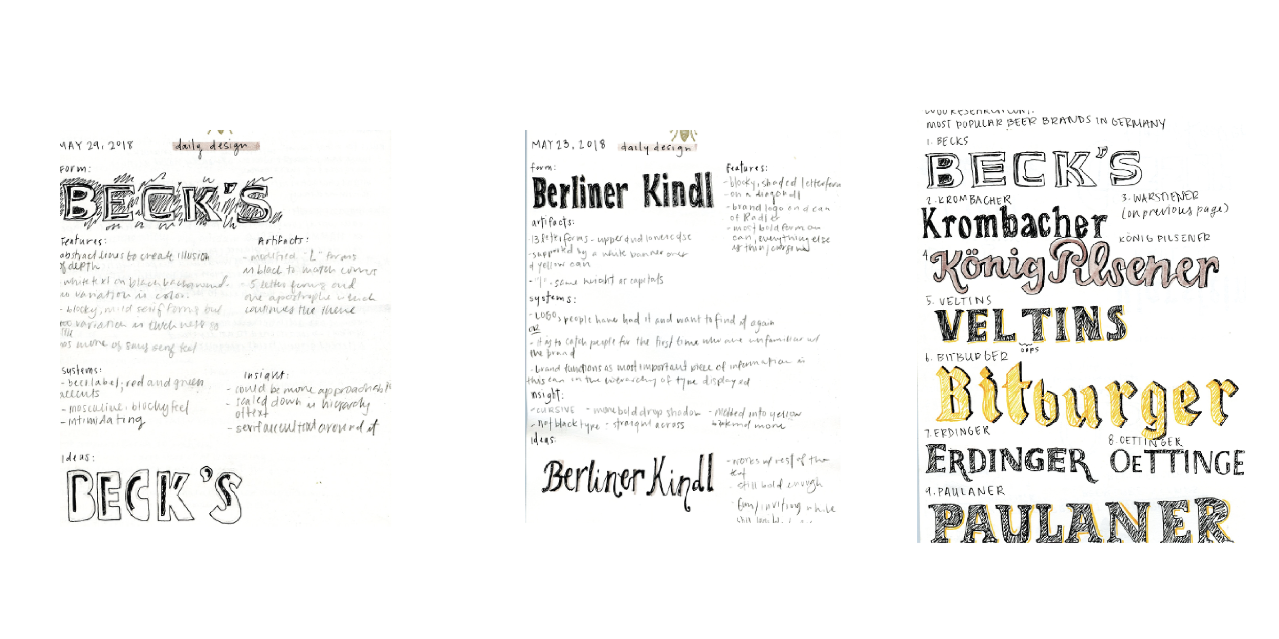 To understand the typefaces used in German beer labels, I did pages of hand-drawn research. Creating these sketches by hand really helped me understand the fine details that made each typeface successful in a label.