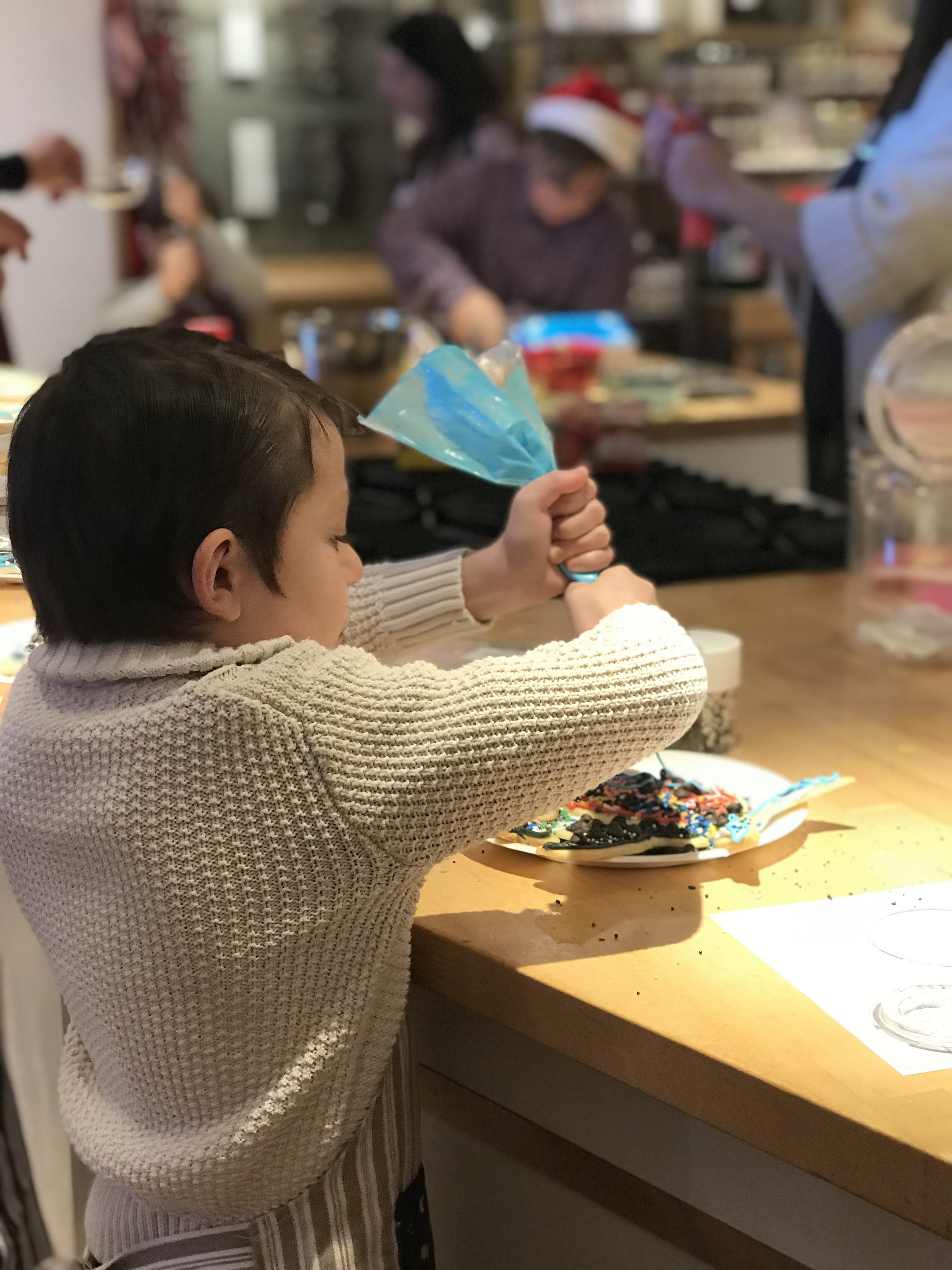 Jacob took a Harry Potter cookie class as a Christmas gift.
