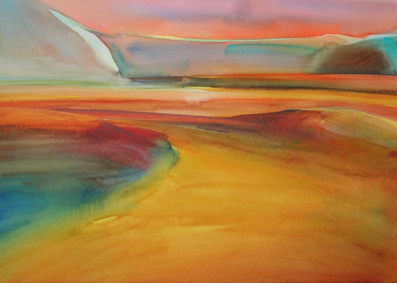 """Watercolor Landscape & Figure - """"Reservoir"""" watercolor on paper"""
