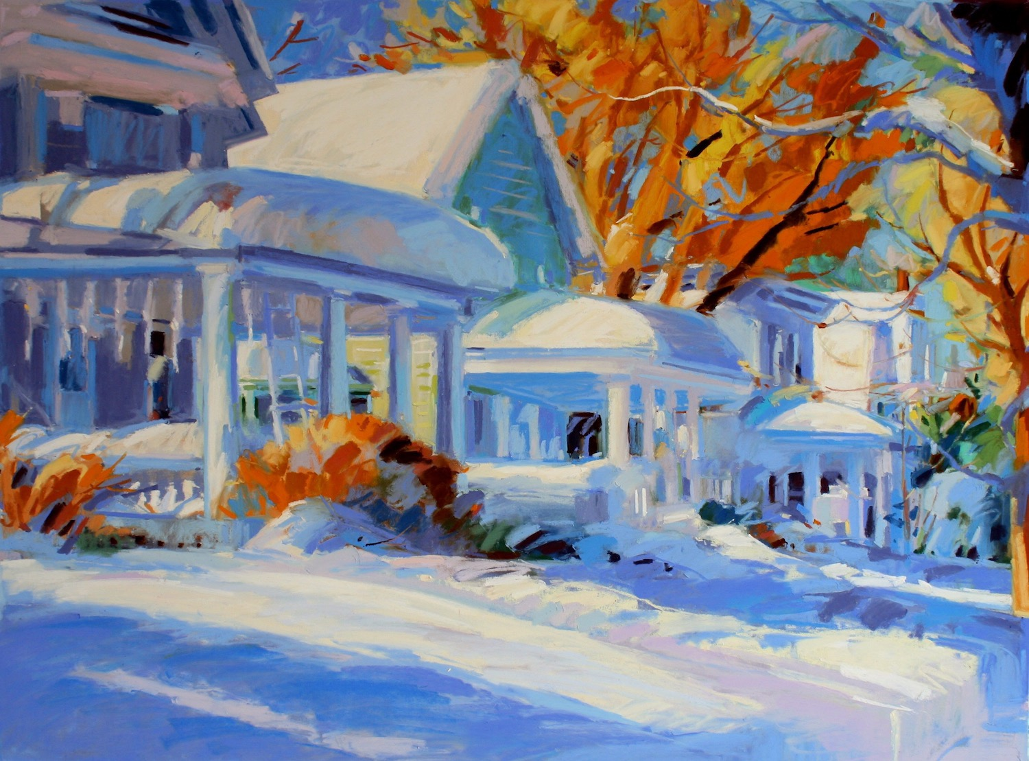 """Houses in the Snow, Altamont  , 25"""" x 31"""" matted and framed pastel by Mary Ellen Riell"""