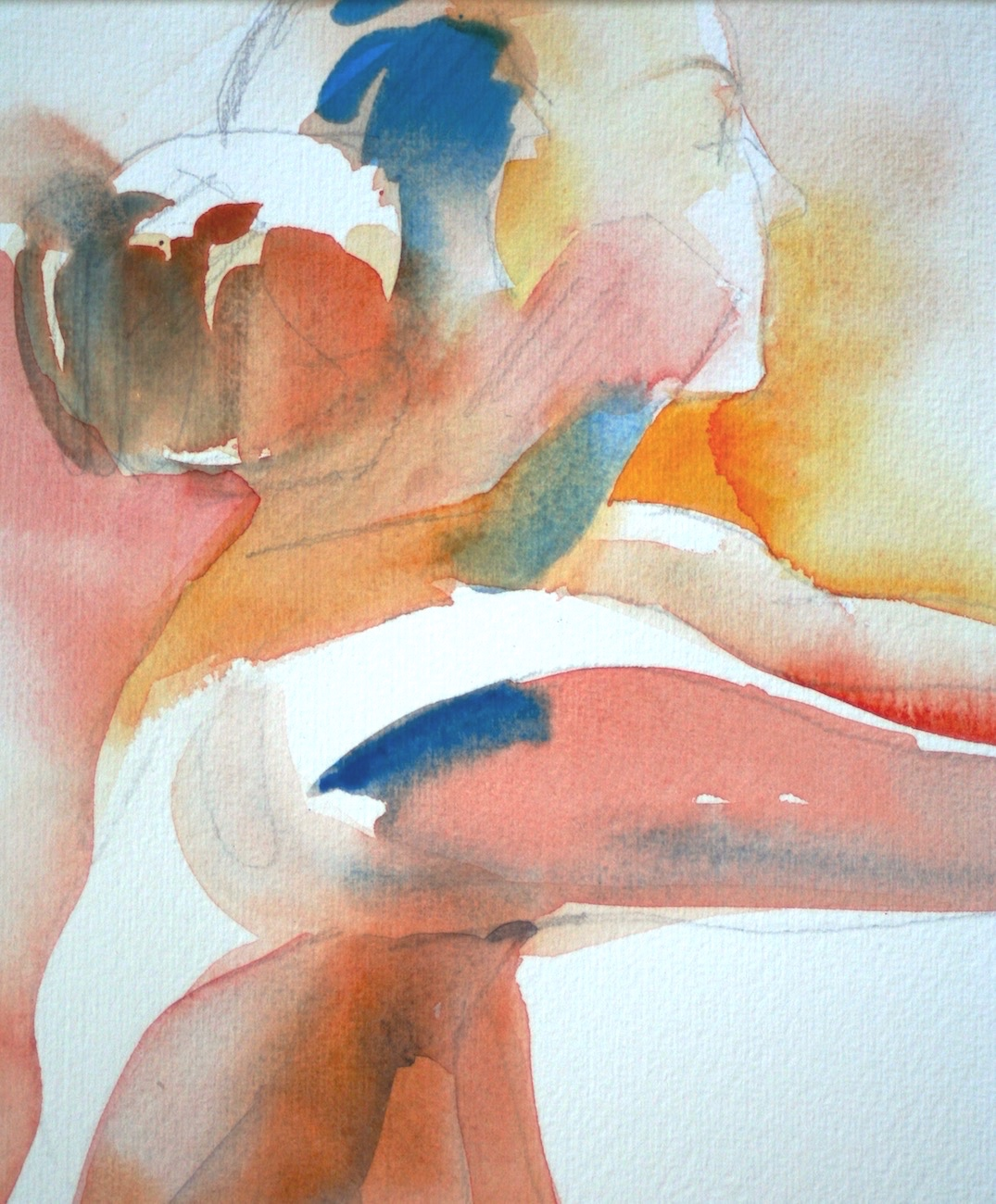The figure in watercolor - Celebrating the human form with expressive brushstrokes and transparent washes of saturated color ….