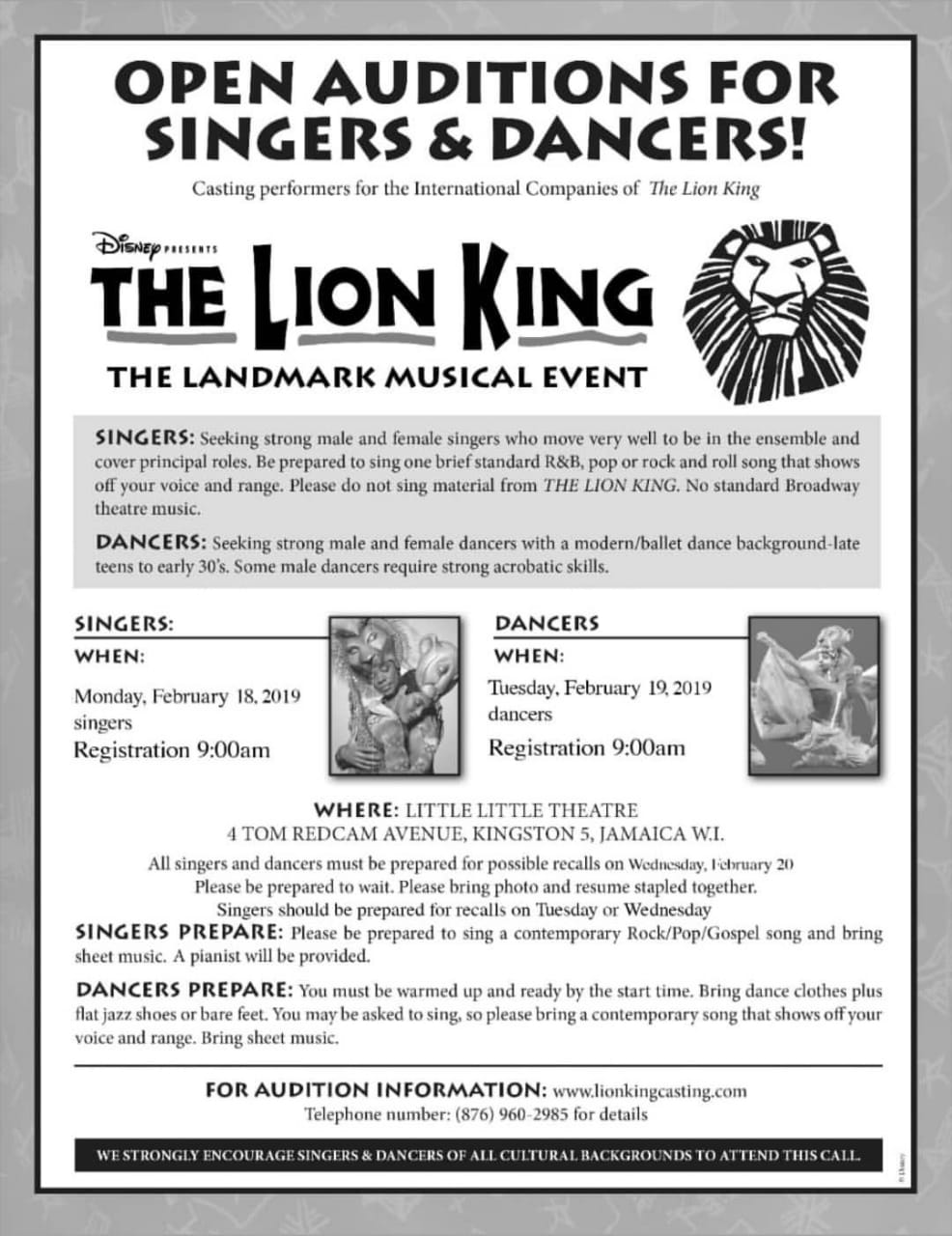 The Lion King Broadway Jamaica Audition Flyer