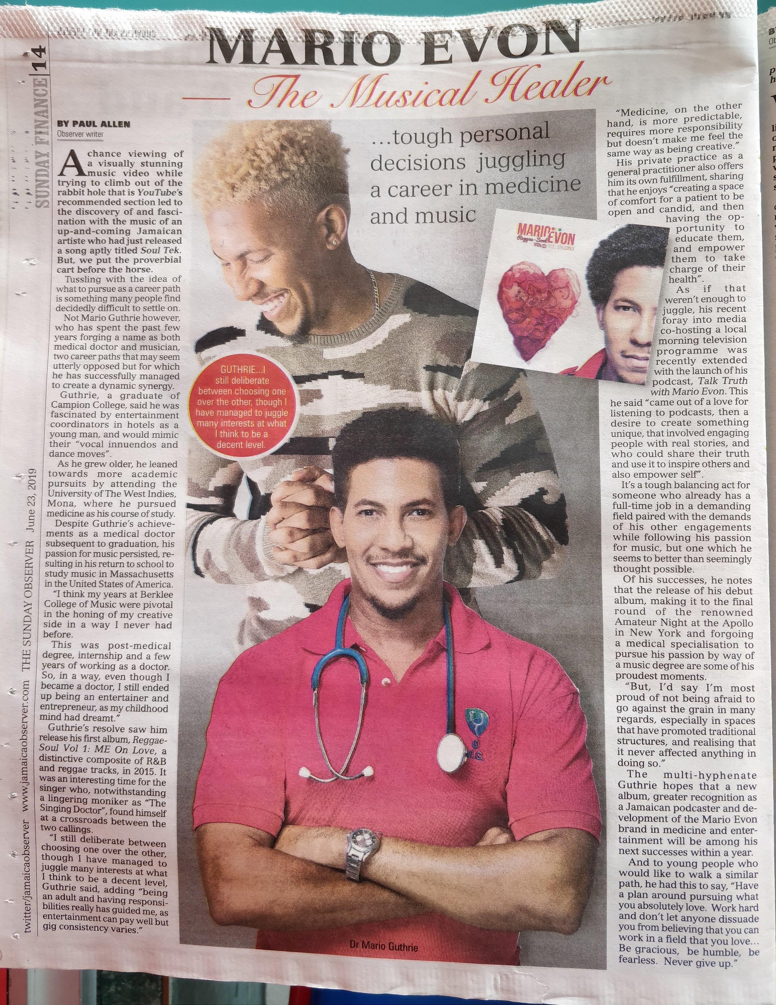 Mario Evon - The Musical Healer (The Jamaica Observer)