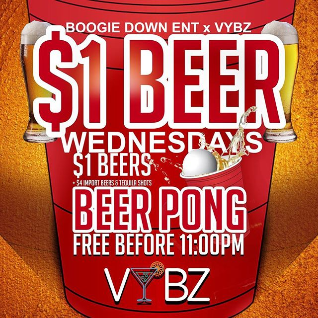 Come PreDrink or stay all night as we bring you our $1 Beer 🍺 tonight. Great vybz, discount drinks & great music. Free cover before 11PM. Hosted by @boogiedown_ent