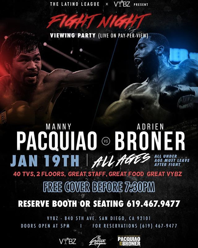 Fight night 🥊 inside @vybzsd. Come out & enjoy a great fight. Hosted by @thelatinoleague @topshelfsd @thecrowdcollective. Whose taking the 🏆 Reserve a spot 619.467.9477