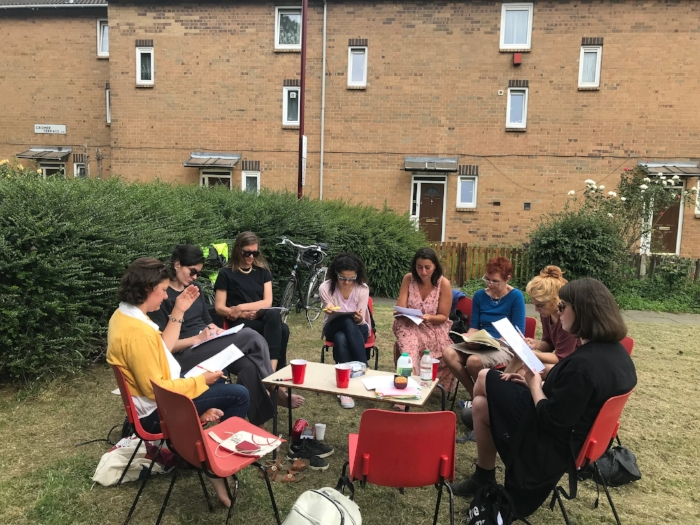 Women Acting Collectively, meeting of the Feminist Duration Reading Group, Mountford Growing Community, London, 2018. Photo: Helena Reckitt