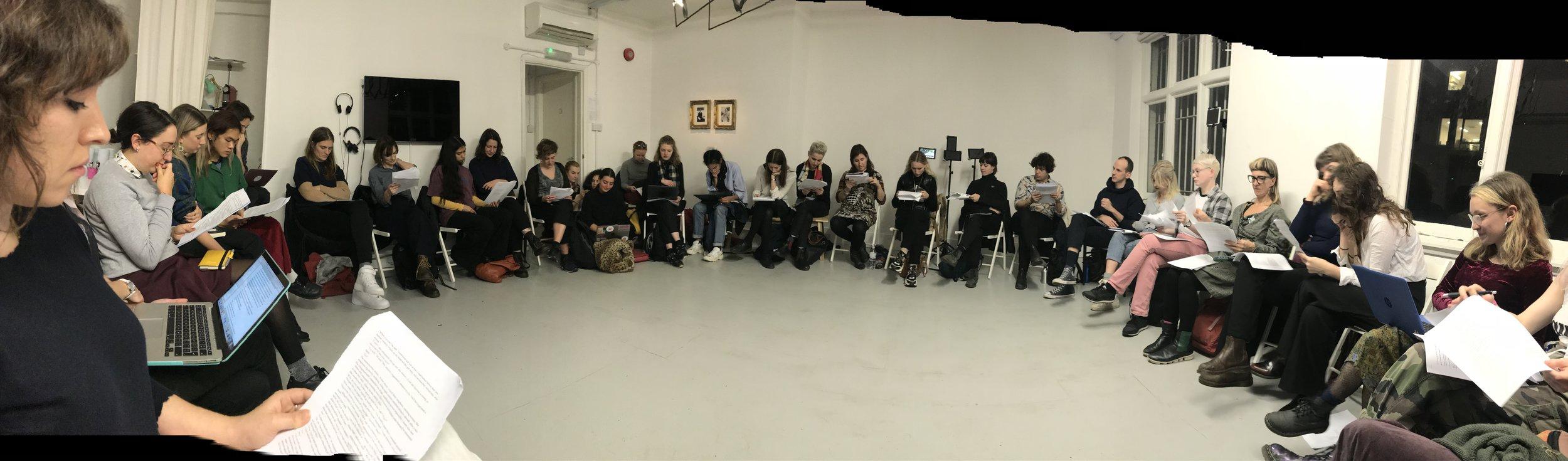 Khariani Barokka & Octavia Butler, Feminist Duration Reading Group, Mimosa House, London, Dec 2018. Photo Helena Reckitt.