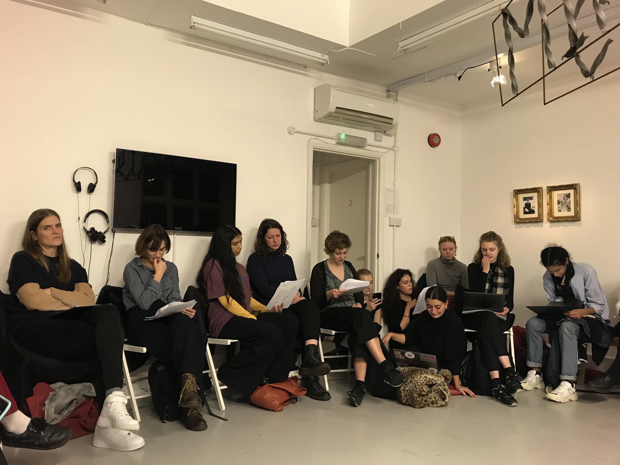 Khariani Barokka & Octavia Butler, Feminist Duration Reading Group, Mimosa House, London, Dec 2018. Photo Helena Reckitt