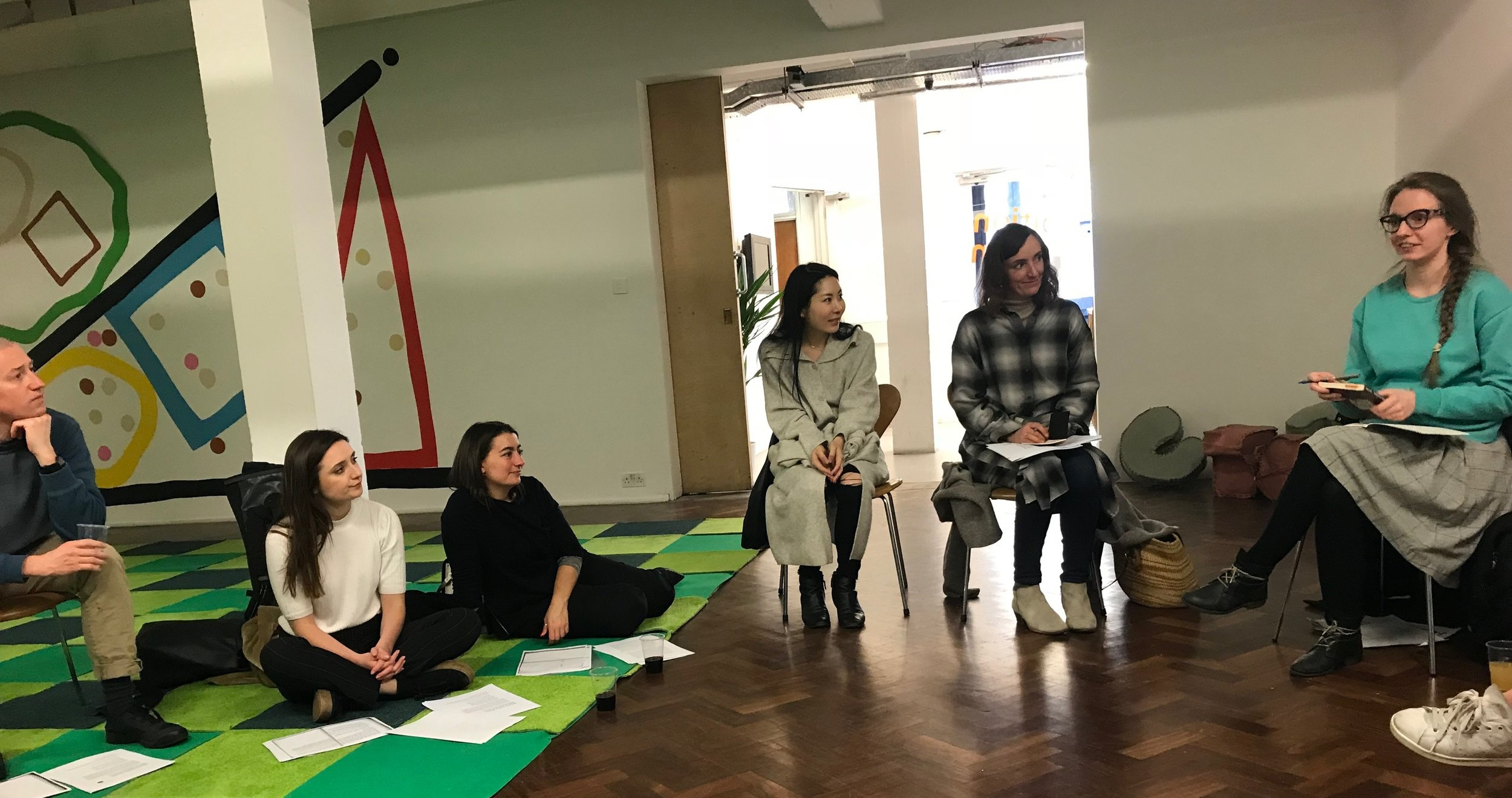 Members of the Feminist Duration Reading Group explore Theresa Hak Kyung Cha's Dictee in a session led by Morgane Conti (right), 1 May 2018. Photo Helena Reckitt.