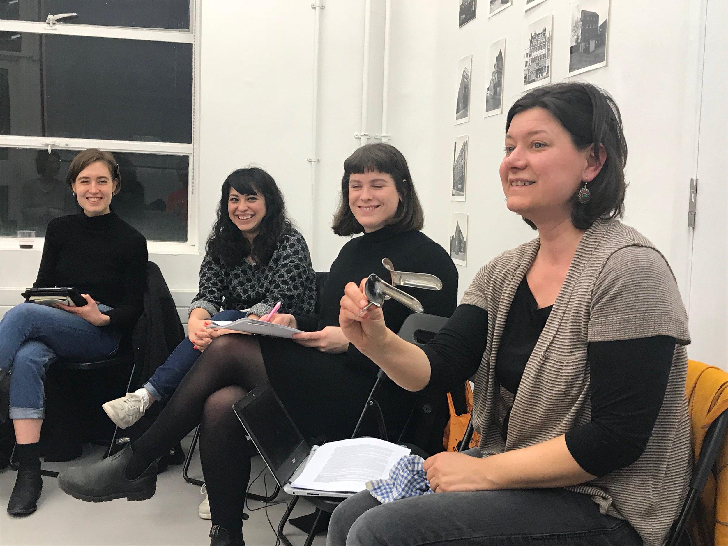 Feminist Duration Reading Group on Lea Melandri, 6th March 2018, led by Sara Paiola (right). Photo Helena Reckitt.
