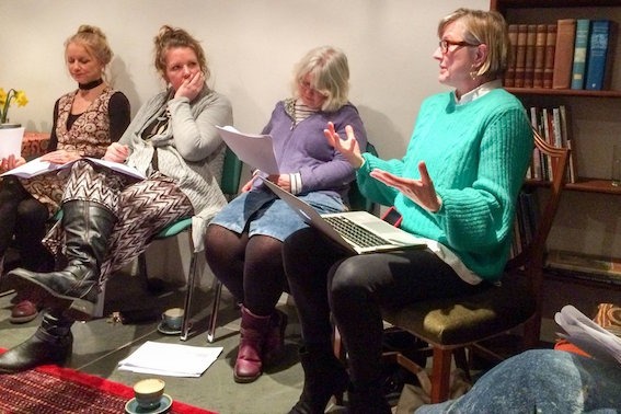 Delpha Hudson (left), of the Hypatia Trust, with participants and Helena Reckitt of the Feminist Duration Reading Group (right), Hypatia Trust, Penzance, January 24th 2019. Photo Sabrina Fuller.