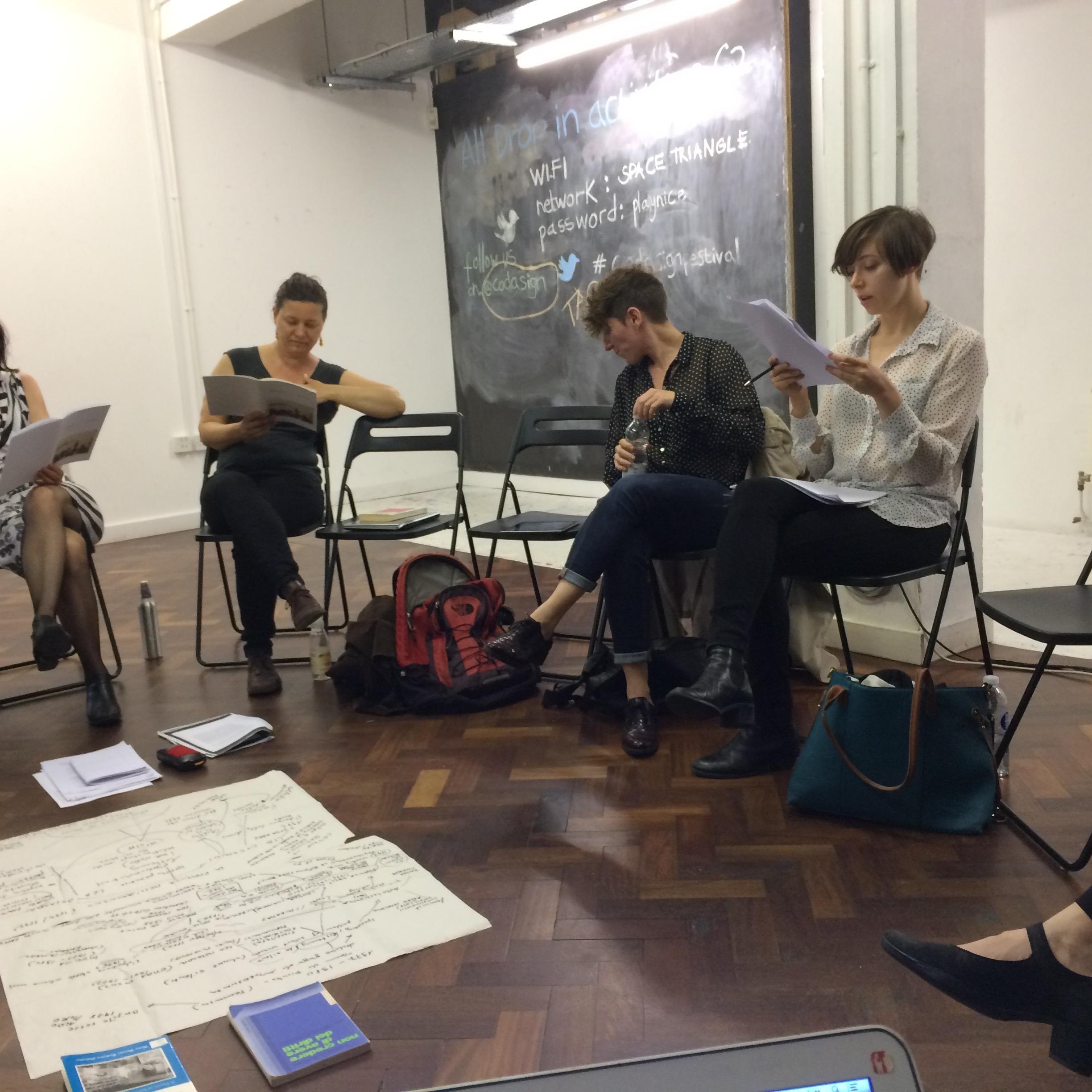 Participants in Feminist Duration Reading Group meeting on Adriana Cavarero, 5 July 2016, SPACE, London