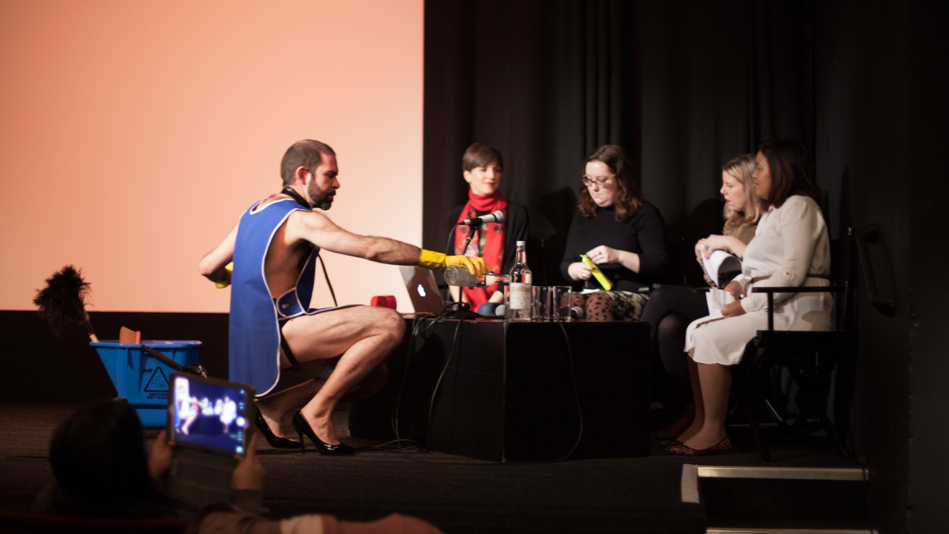 Pablo Pakula, Emma Dowling, Dawn Foster, Larne Abse Gogarty, and Marissa Begonia as part of On Social Reproduction, ICA, London, as part of Now You Can Go. Photo Christian Luebbert.